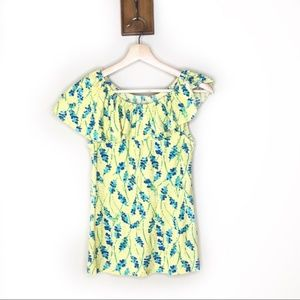 Lilly Pulitzer yellow floral ruffle shoulder shirt